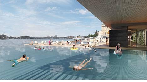 Havainnekuva Tukholmaan suunnitellusta kylpylästä.