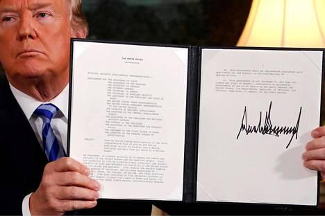 Yhdysvaltain presidentti Donald Trump ilmoitti toukokuussa 2018 maansa irtautuvan yksipuolisesti Iranin ydinsulkusopimuksesta.