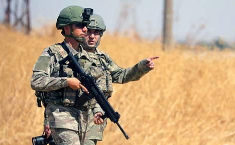 Turkin armeijan sotilaita Tell Abiadissa Syyriassa syyskuun alussa.