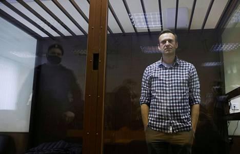 Aleksei Navalnyi oikeudenkäynnissä Moskovassa helmikuussa 2021.
