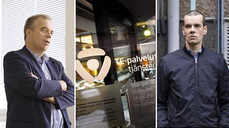 Uudenmaan te-toimiston johtaja Jarmo Ukkonen (vas.) sanoi perjantaina, että Ossi Nymanin (oik.) työmarkkinatuen maksaminen katkaistaan.