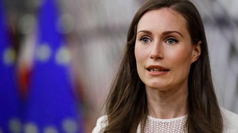 Sanna Marin osallistui EU-johtajien kokoukseen maanantaina.