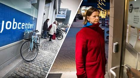 Tanskassa te-toimistot tarjoavat työttömälle yksilöllistä palvelua. Työtön tohtori Sirpa Huuskonen ihmettelee, miksi Suomi on kopioinut vain osan Tanskan mallista.
