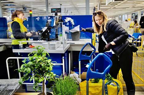 Muun muassa kukat ovat käyneet Ruotsin Ikeassa kaupaksi. Angelica Hasselhuhn käytti hanskoja suojautuakseen koronavirukselta.