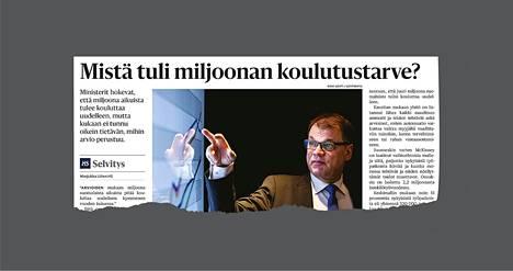HS kertoi 23.9.2018, mistä on peräisin esimerkiksi pääministeri Juha Sipilän vaatimus kouluttaa uudelleen miljoona aikuista.