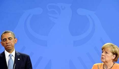 Presidentti Barack Obama (vas) ja liittokansleri Angela Merkel tapasivat Berliinissä kesäkuussa 2013.