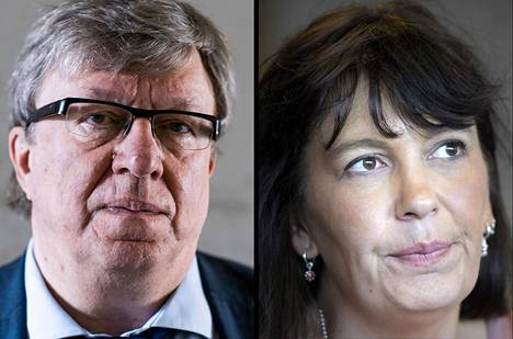 Keskustan puoluesihteeri Timo Laaninen ja perussuomalaisten puoluesihteeri Riikka Slunga-Poutsalo.