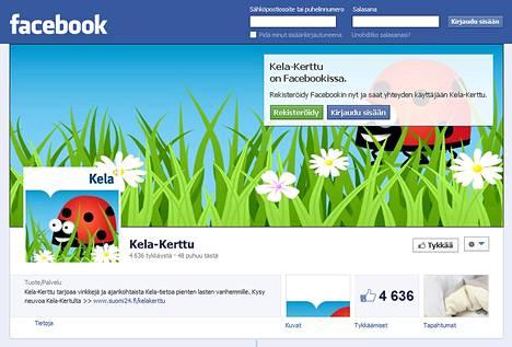 Kelan Facebookissa toimivaan Kela Kerttu -neuvontapalveluun pääsee rekisteröitymällä Facebookin käyttäjäksi.