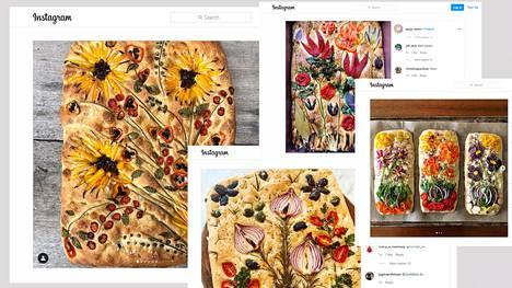 Kukkafocaccian kuvia löytyy muun muassa Instagramista. Vasemmalla oleva keltakukkainen leipä on Teri Gulleton, jonka kerrotaan aloittaneen trendin.