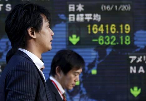 Japanin pörssin Nikkei -kurssin valotaulu Tokiossa viime keskiviikkona.