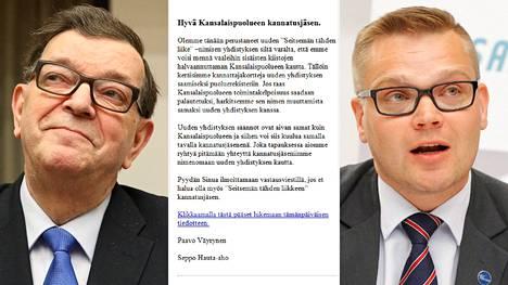 Kansanedustaja Paavo Väyrynen ja kansalaispuolueen puheenjohtaja Sami Kilpeläinen ovat erimielisiä puolueen keräämien sähköpostiosoitteiden käytöstä.
