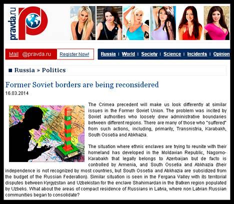 Ruutukaappaus Pravdan englanninkieliseltä verkkosivulta.