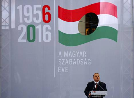 Unkarin pääministeri Viktor Orbán puhui vuoden 1956 kansannousun muistojuhlassa 23. lokakuuta Budapestissa.