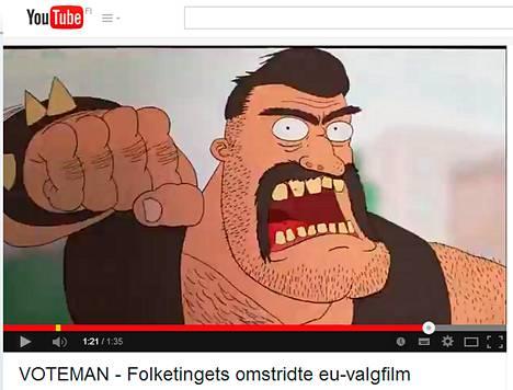 Tanskan parlamentin videossa seikkailee väkivaltainen Voteman. Kuva on kaappaus Youtubesta.