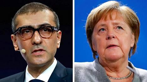 Nokian toimitusjohtaja Rajeev Suri ja Saksan liittokansleri Angela Merkel.