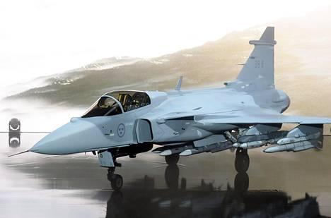 Saabin uusi Jas 39 Gripen E -hävittäjä esiteltiin Lingköpingissä Ruotsissa toukokuussa. Hävittäjä on yksi viidestä ehdokkaasta Suomen Hornet-hävittäjien seuraajaksi.