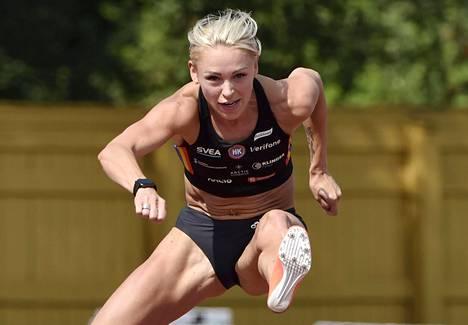 Annimari Korte harjoitteli 19. heinäkuuta Eläintarhan kentällä.