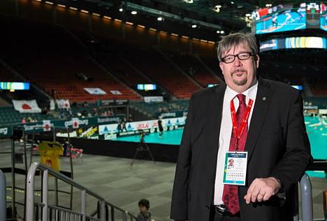 John Liljelund Göteborgin Scandinavium-areenalla salibandyn MM-kisoissa.