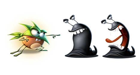 Best Fiends -pelisarjan ötökkäsankareihin kuuluu muun muassa Temper (vas.), pahiksina taas toimivat limaiset etanat.