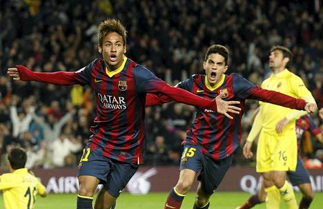 Näin tuulettivat Neymar (vas) ja