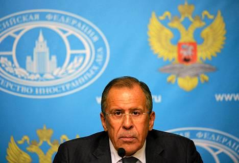 Venäjän ulkoministeri Sergei Lavrov piti tiedotustilaisuuden Moskovassa maanantaina.