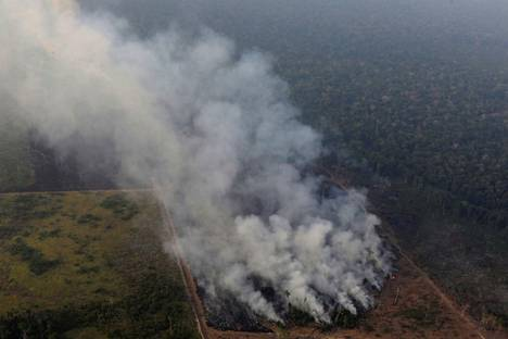 Metsä paloi Porto Velhon lähellä Brasiliassa keskiviikkona.