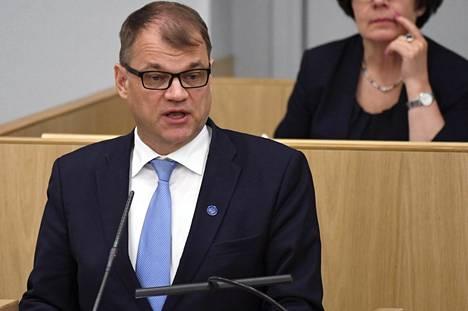 Pääministeri Juha Sipilä eduskunnan täysistunnossa maanantaina 19. kesäkuuta 2017.