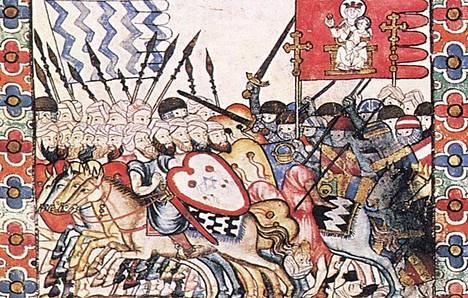 Iberian niemimaan omistuksesta kamppailtiin vuosisatoja. Kuva on   keskiaikaisesta runoteoksesta Cantigas de Santa María.