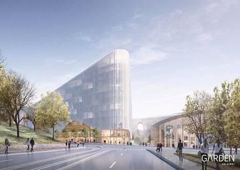 Havainnekuva hahmottelee miltä Nordenskiöldinkadun varressa voisi tulevaisuudessa näyttää, mikäli Garden Helsinki -hanke toteutuu.