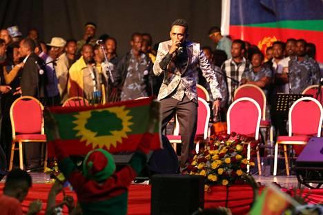 Maanantaina ammutun Hachalu Hundessan laulut nousivat keskeisiksi tunnuslauluiksi vuoden 2018 protestiaallossa, jonka seurauksena maan pääministeri joutui eroamaan. Kuva heinäkuulta 2018.