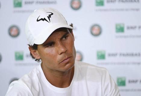 Rafael Nadal Ranskan avointen lehdistötilaisuudessa 27. toukokuuta.