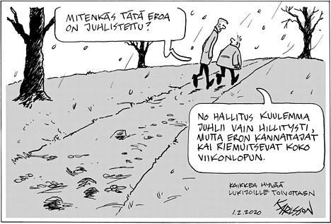 Karlssonin viimeinen pilapiirros ilmestyi Helsingin Sanomissa lauantaina 1.2.2020.