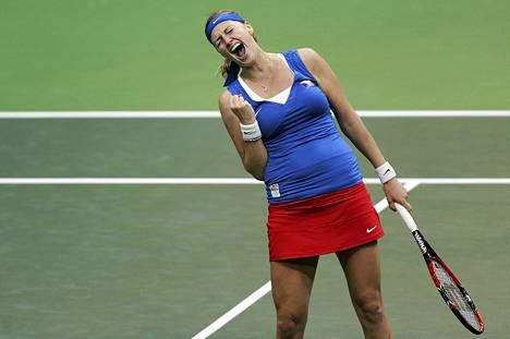 Petra Kvitova juhli voittoa sunnuntaina.