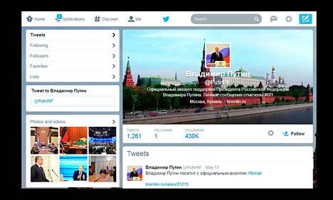 """Elokuussa voimaan astuva """"bloggauslaki"""" uhkaa Twitterin käyttöä Venäjällä. Kuva on kaappaus presidentti Putinin virallisesta Twitter-tilistä."""