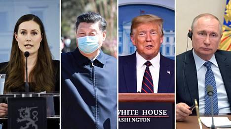 Pääministeri Sanna Marin, presidentti Xi Jinping, presidentti Donald Trump ja presidentti Vladimir Putin.