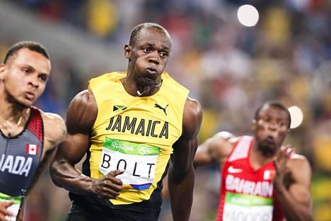 Jamaikan Usain Bolt oli välierien nopein.
