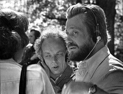 Kirjailijat Christer Kihlman (oik.) ja Veijo Meri Lahden kirjailijakokouksessa vuonna 1975.