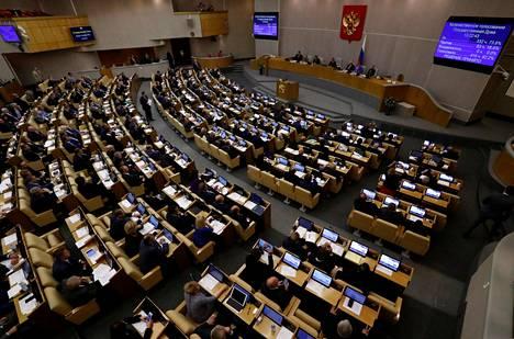 Kuva Venäjän duuman istunnosta viime syyskuulta.