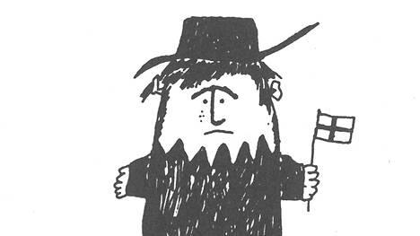 Herra Huu Mäkelän piirroskuvituksena ensimmäisestä Herra Huu -kirjasta vuodelta 1973.