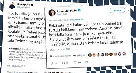 Twitter-keskusteluun osallistuivat muun muassa Ulla Appelsin ja Alexander Stubb.