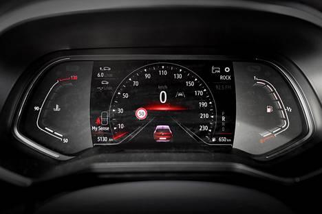 Digimittaristoon saa erilaisia näkymiä ja näyttöjä ajotilasta riippuen.