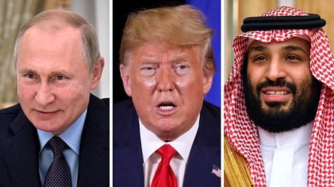 Venäjän presidentti Vladimir Putin, Yhdysvaltain presidentti Donald Trump ja Saudi-Arabian kruununprinssi Mohammed bin Salman.
