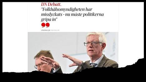 Ruotsalaistutkijoiden mielipidekirjoitus julkaistiin tiistaina Dagens Nyheter -sanomalehdessä. Kuvakaappaus lehden verkkosivuilta.
