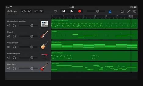 Useimmissa kotistudio-ohjelmissa soitetut instrumenttiosuudet näkyvät vaakasuorina, vasemmalta oikealle etenevinä raitoina. Kuvassa Applen Garage Bandin näkymä.