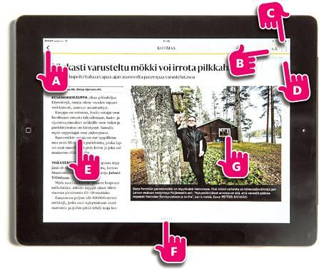 A. Tästä voit palata takaisin lehden etusivulle. B. Tästä voit suurentaa tai pienentää tekstin kokoa. C. Tästä voit lähettää linkin uutiseen ystävällesi tai jakaa jutun esimerkiksi Facebookissa tai Twitterissä. D. Laskuri näyttää, missä kohtaa lehteä olet menossa. E. Artikkelit näytetään palstoitettuna samaan tyyliin kuin sanomalehdessä. F. Pyyhkäise nähdäksesi uutisen seuraavan sivun. G. Uutiseen liittyvät kuvat, videot ja grafiikat avautuvat koko näytölle koskettamalla.