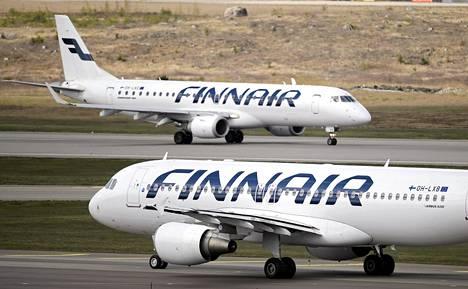 Finnairin lentokoneita Helsinki-Vantaan lentokentällä viime toukokuussa.