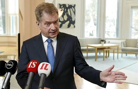 Presidentti Sauli Niinistö piti tiedotustilaisuuden tavattuaan puoluejohtajat Mäntyniemessä.