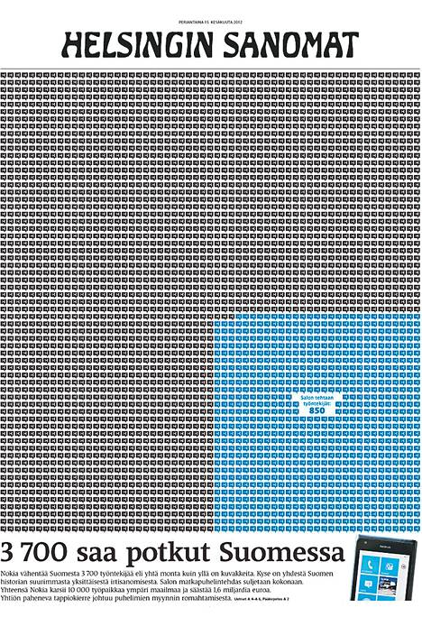 Ilmeeltään erilaisessa etusivussa jokaista irtisanottua esitti pieni kuvake. Sininen alue kuvasi Salossa irtisanottujen määrää.