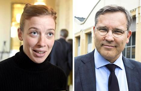 Vasemmiston puheenjohtaja Li Andersson ja Suomen yrittäjien toimitusjohtaja Mikael Pentikäinen.