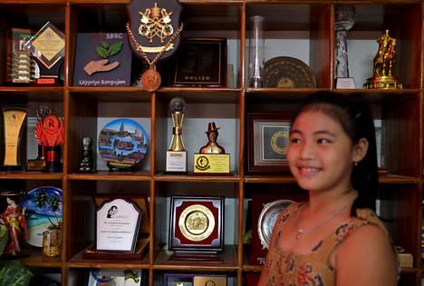 Licypriya Kangujam posed in front of her award cabinet in September.